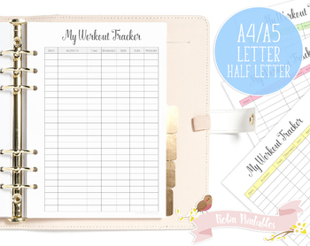 Workout Tracker Printable Planner Insert