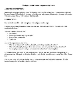 Workplace Article Review/Reflection Assignment