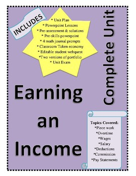 Workplace Math 10 - Earning an Income (Full Unit Bundle)
