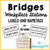 Workplace Station Labels for Bridges 1st Grade - Labels an