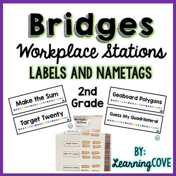 Workplace Station Labels for Bridges 2nd Grade - Labels and Nametags - Editable