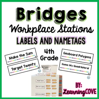 Workplace Station Labels for Bridges 4th Grade - Labels and Nametags - Editable