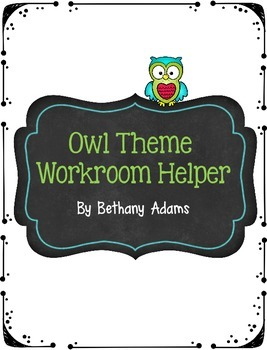 Owl Theme Workroom Helper - Copy and Paperwork Slip