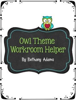 Owl Theme Workroom Helper - Copy and Paperwork Slip