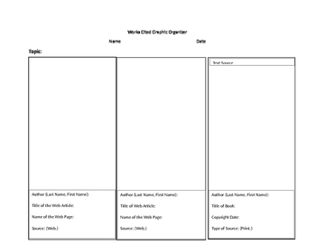 Works Cited Graphic Organizer