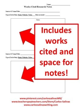 Works cited page for projects and research