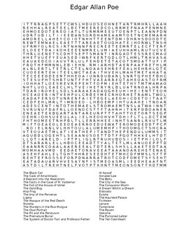 works of edgar allan poe wordsearch worksheet by ex nihilo arts and culture. Black Bedroom Furniture Sets. Home Design Ideas