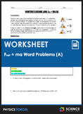 Worksheet - F=MA Word Problems (Part 1)