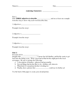 Worksheet--2 Ways to Analyze Characters