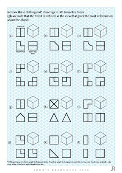Worksheet: 2D Orthogonal to 3D Isometric