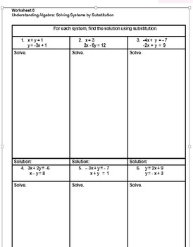 Worksheet 5 Mod 2 Solving Systems by Substitution