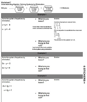 Worksheet 7 Mod 2 Solving Systems by Elimination