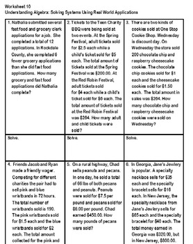Worksheet 9 Mod 2 Solving Systems in Context