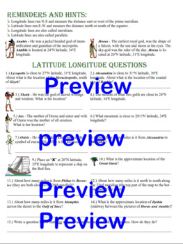 worksheet ancient egypt latitude longitude questions map by linda mccormick. Black Bedroom Furniture Sets. Home Design Ideas