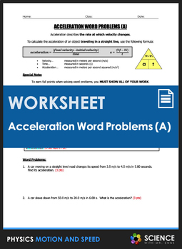 Worksheet - Acceleration Word Problems (Part 1)