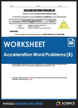 Worksheet - Acceleration Word Problems (Part 2)
