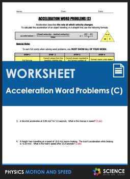 Worksheet - Acceleration Word Problems (Part 3)