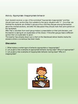 Appropriate & Inappropriate behavior Worksheet / life skills
