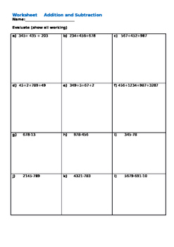 Worksheet Addition & Subtraction