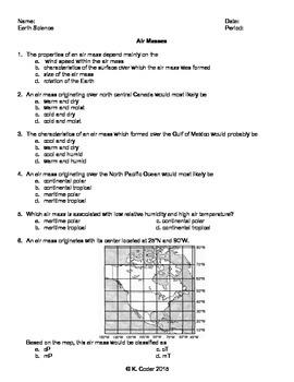 Worksheet - Air Masses *Editable*