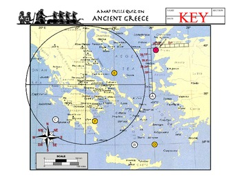 Latitude and Longitude Worksheets- Ancient Greece- Questions & Map