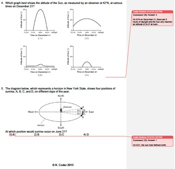 Worksheet - Apparent Path of the Sun *Editable* (w/ ANSWERS EXPLAINED)