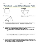 Worksheet - Area of Plane Figures, Part 1