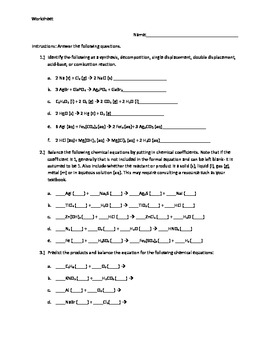 Worksheet: Balancing Chemical Equations