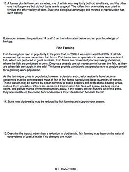 Worksheet - Biodiversity & Ecological Stability CR *EDITABLE*