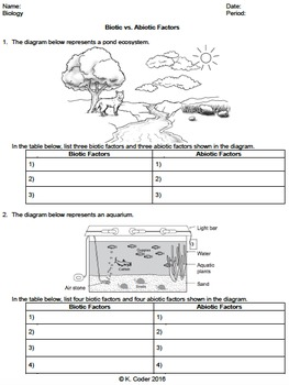 worksheet biotic vs abiotic factors editable tpt. Black Bedroom Furniture Sets. Home Design Ideas