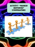 Broken sentences (Cooperation) Worksheet - life skills