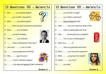 ESL Worksheet Bundle - 13 Questions (Pair Work) - 17 EFL worksheets