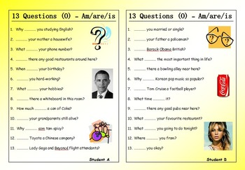 ESL Worksheet Bundle - 13 Questions (Pair Work) - 20 EFL worksheets