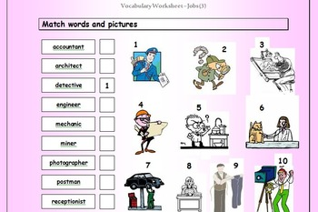 ESL Worksheet Bundle - Vocabulary Matching Worksheets - 53 EFL worksheets