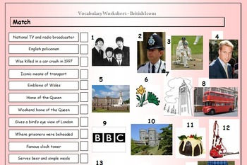ESL Worksheet Bundle - Vocabulary Matching Worksheets - 52