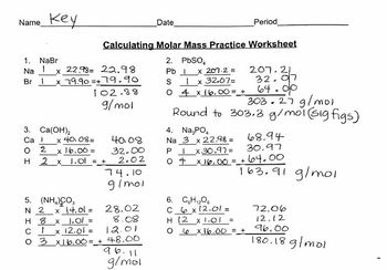 Worksheet: Calculating Molar Mass