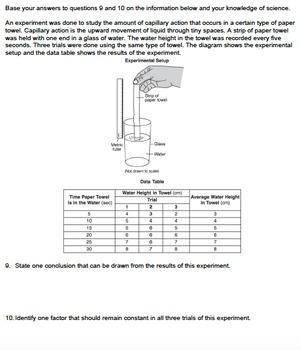 Worksheet - Capillary Action *EDITABLE*