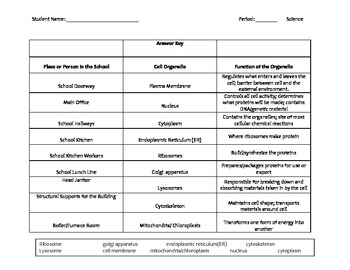 Free Middle School Biology and Literacy Worksheet - Cell Analogies