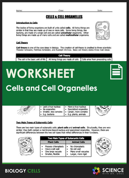 Worksheet - Cells and Cell Organelles