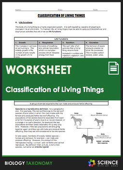 Classification Of Living Things Worksheets & Teaching