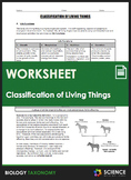 Worksheet - Taxonomy - Classification of Living Things - D