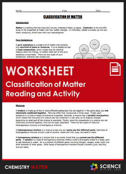 Worksheet - Classification of Matter Reading and Station Lab Activity