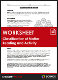Worksheet - Classification of Matter Reading and Station L
