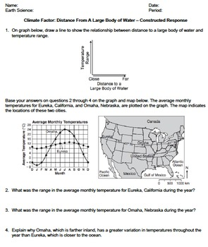 Worksheet - Climate Factor: Distance From a Large Body Of