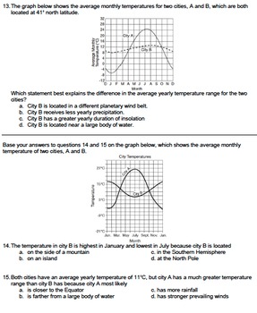 Worksheet - Climate Factor: Distance From a Large Body Of Water MC *EDITABLE*