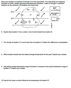 Worksheet - Climate on an Imaginary Continent *EDITABLE*