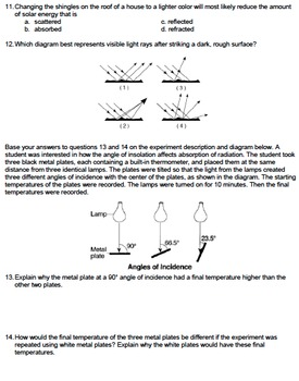 Worksheet - Color and Texture on Energy Absorption *Editable*