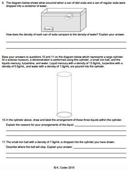 Worksheet - Comparing Densities (Editable)