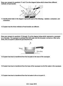 Worksheet - Conduction, Convection, & Radiation Constructed Response *Editable*