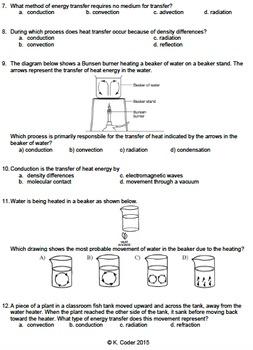 Worksheet - Conduction, Convection, & Radiation Multiple Choice *Editable*